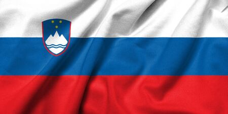 Realistic 3D flag of Slovenia with satin fabric texture.
