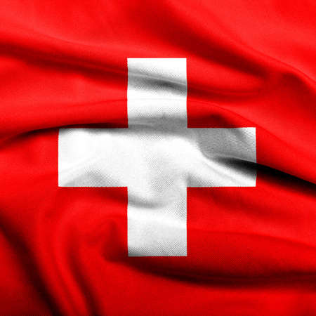 Realistic 3D flag of Switzerland with satin fabric texture. Stock Photo