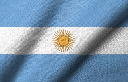 Realistic 3D flag of Argentina with fabric texture waving. Standard-Bild