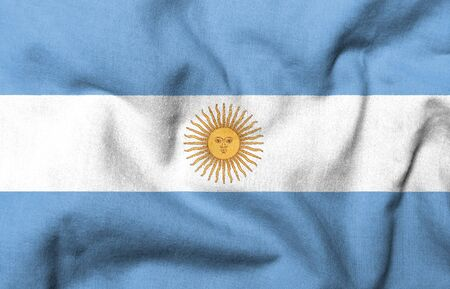 Realistic 3D flag of Argentina with fabric texture. photo
