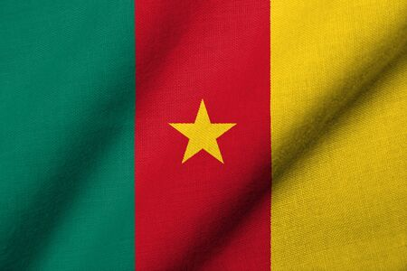 Realistic 3D flag of Cameroon with fabric texture waving.
