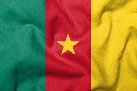 Realistic 3D flag of Cameroon with fabric texture.