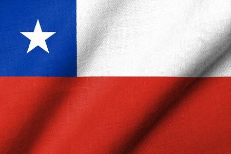 生地のテクスチャを振るとチリの現実的な 3 D の旗。 写真素材 - 7055504