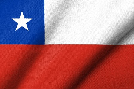 Realistic 3D flag of Chile with fabric texture waving. photo