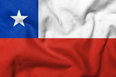Realistic 3D flag of Chile with fabric texture.