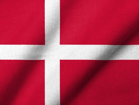 Realistische 3D Fahne Dänemarks mit Stoff Textur winken.  Standard-Bild - 7055501