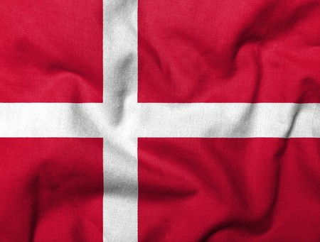 Realistic 3D flag of Denmark with fabric texture.