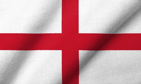 Realistic 3D flag of England with fabric texture waving. Standard-Bild