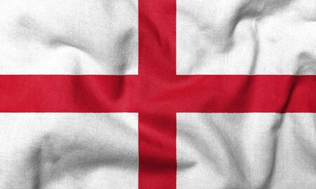 Realistic 3D flag of England with fabric texture.