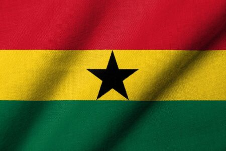 Realistic 3D flag of Ghana with fabric texture waving. photo