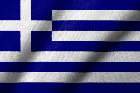Realistic 3D flag of Greece with fabric texture waving.