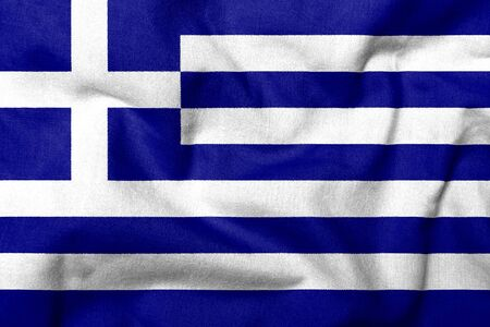 Realistic 3D flag of Greece with fabric texture. Standard-Bild