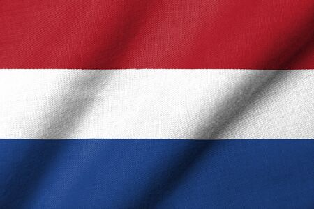 Realistic 3D flag of Netherlands with fabric texture waving. Standard-Bild