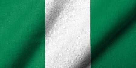 Realistic 3D flag of Nigeria with fabric texture waving.