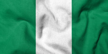 Realistic 3D flag of Nigeria with fabric texture.