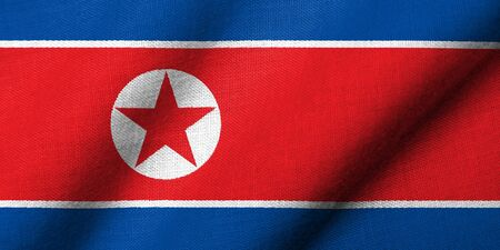 Realistic 3D flag of North Korea with fabric texture waving.