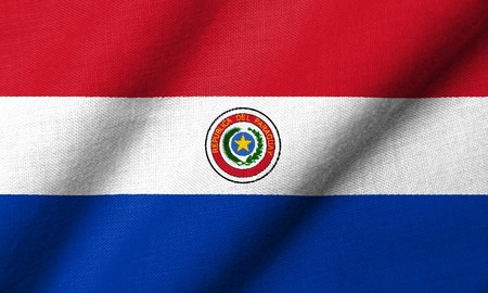 Realistic 3D flag of Paraguay with fabric texture waving.