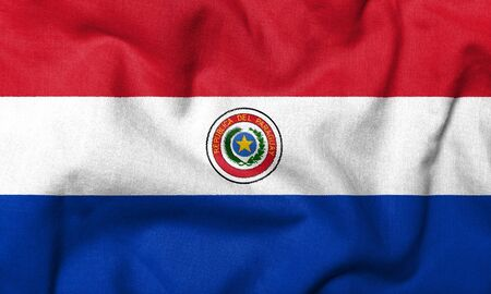 Realistic 3D flag of Paraguay with fabric texture. photo