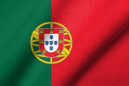 Realistic 3D flag of Portugal with fabric texture waving. photo