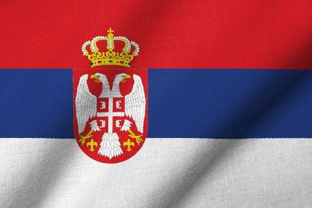 Realistic 3D flag of Serbia with fabric texture waving.