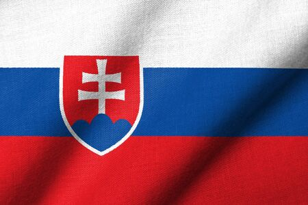 Realistic 3D flag of Slovakia with fabric texture waving. Standard-Bild