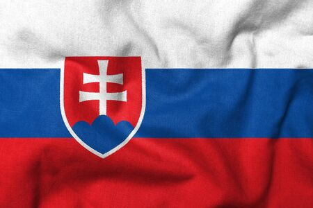 Realistic 3D flag of Slovakia with fabric texture.