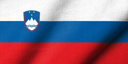 Realistic 3D flag of Slovenia with fabric texture waving.