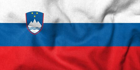 Realistic 3D flag of Slovenia with fabric texture.