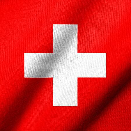Realistic 3D flag of Switzerland with fabric texture waving.