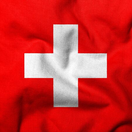 Realistic 3D flag of Switzerland with fabric texture.