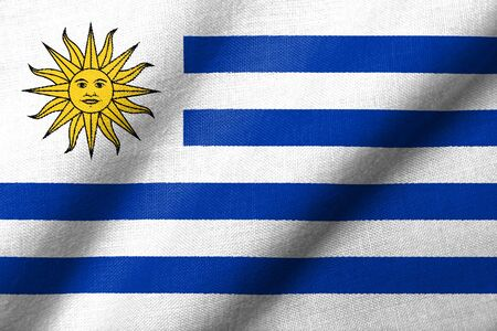 Realistic 3D flag of Uruguay with fabric texture waving.