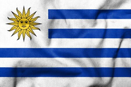 Realistic 3D flag of Uruguay with fabric texture.