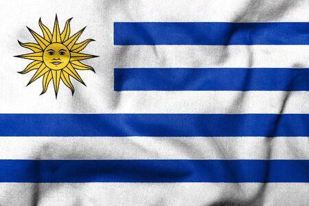 Realistische 3D Fahne von Uruguay mit Stoff-Textur.  Standard-Bild - 7055530