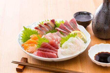 Assorted sashimi and sake