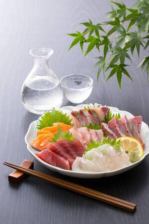 Assorted sashimi and cold sake
