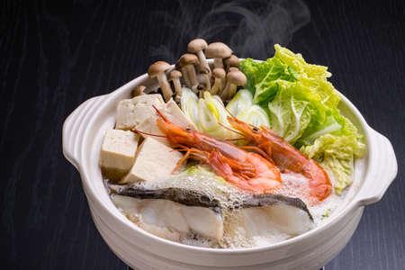 Eat Japanese seafood hot pot 写真素材