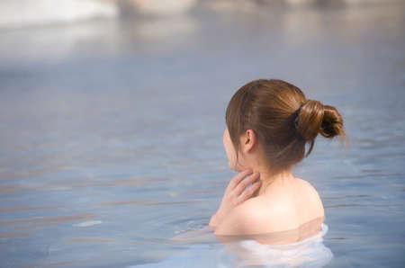 Woman in Japanese hot springs