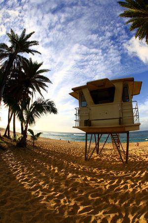 Lifeguard tower in the mid afternoon at Sunset Beach, Hawaii Stock Photo