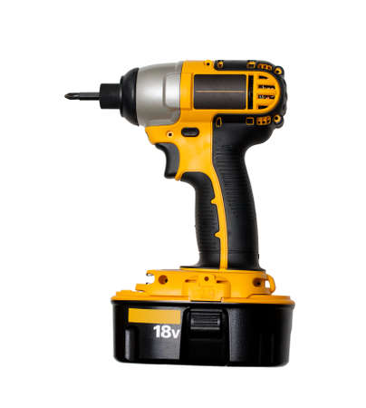 Yellow impact driver on white background Stock Photo