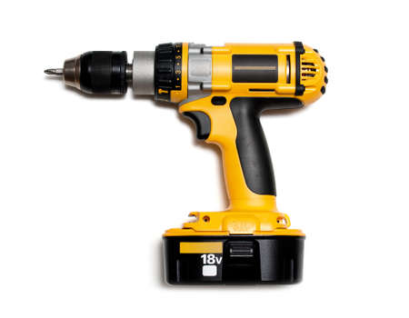 cordless: Yellow cordless drill on white background
