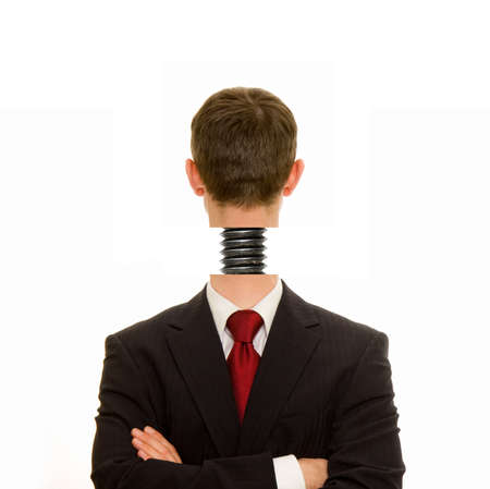 screwed: Businessman with head screwed on straight Stock Photo