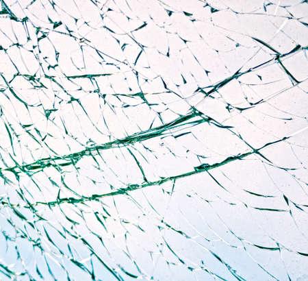 Broken windshield on car