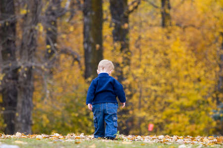 Boy walking away on fall day photo