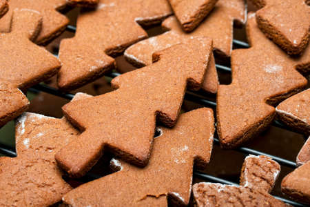 gingerbread: Gingerbread Christmas Tree cookies Stock Photo