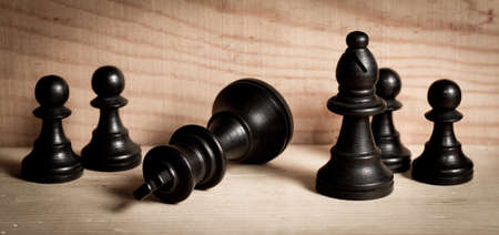 defeat: Chess pieces in defeat