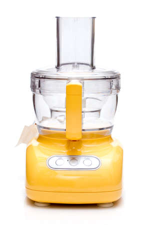 food processor: Yellow food processor on white background