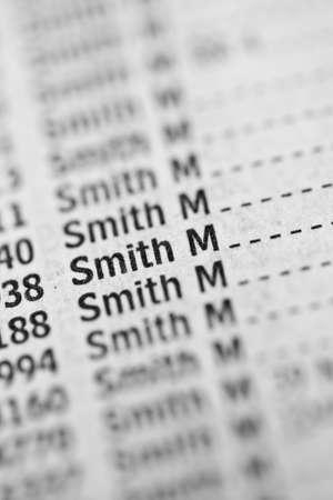 Smith name in phone book Archivio Fotografico