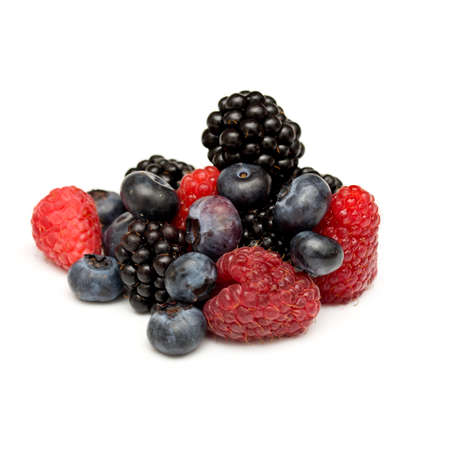Mixed berries on white background Banco de Imagens
