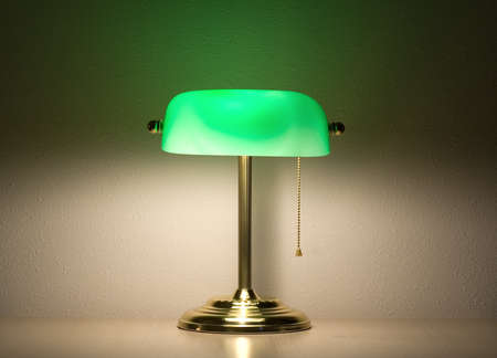lamp light: Green bankers lamp Stock Photo