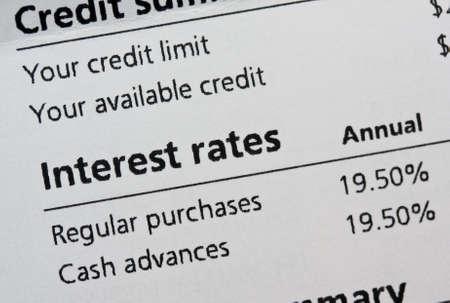 Credit card interest rates Stock fotó